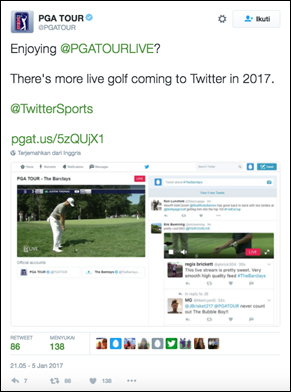 PGA TOUR Announces Twitter as Global Live Stream Distribution Platform for PGA TOUR LIVE OTT Coverage in 2017